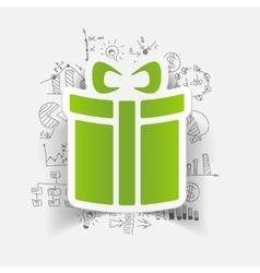 Drawing business formulas gift box vector