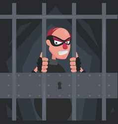 A picture of a thief in a mask in prison behind vector