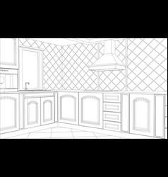 abstract sketch design interior kitchen vector image vector image