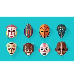 African Mask Icons vector image vector image