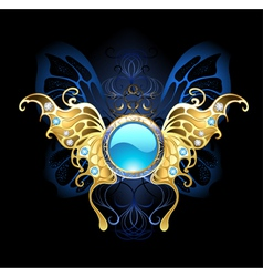 Banner with gold wings of a butterfly vector