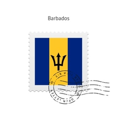 Barbados flag postage stamp vector
