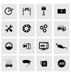 black car service icons set vector image vector image
