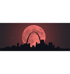 Blood Super Moon Over STL vector image