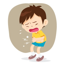 Boy have stomach ache vector