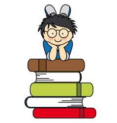 boy with many books vector image vector image