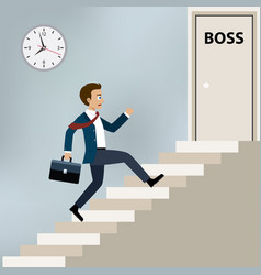businessman running to boss office vector image vector image
