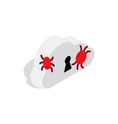 Cloud with keyhole and computer virus icon vector