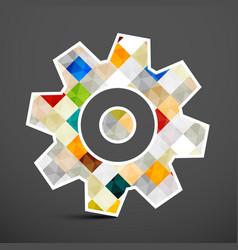 cog icon colorful squares inside gear symbol vector image