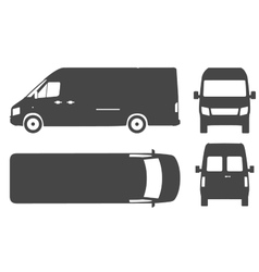 Commercial van bus silhouette icon vector image vector image