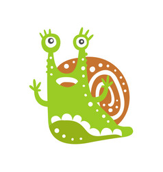 cute snail character with its hands up funny vector image vector image