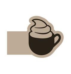 Dark contour cup coffee with cream icon vector