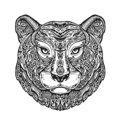 Ethnic ornamented tiger puma panther leopard or vector