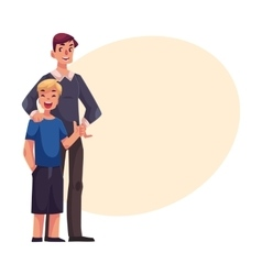 Full length portrait of happy father and son vector