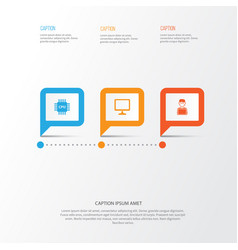 Gadget icons set collection of motherboard vector