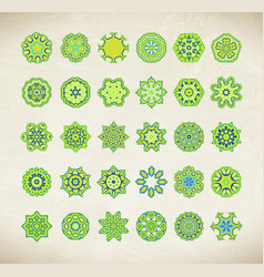 Green mandala set vector