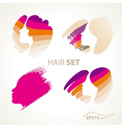 hair emblem sign set vector image vector image