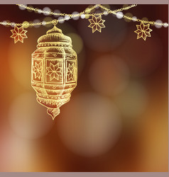 illuminated hand drawn sketch of arabic lamp vector image