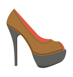leather stiletto shoe with open front isolated vector image vector image