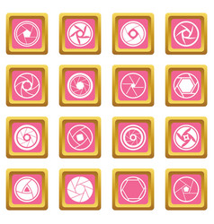 Photo diaphragm icons pink vector
