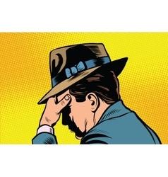 Retro male thinking vector image