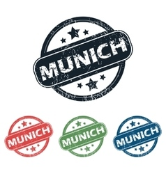 Round munich city stamp set vector