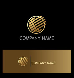 round stripe technology gold logo vector image