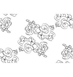 Seamless pattern black and white freesia flowers vector