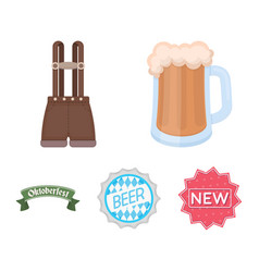 Shorts with suspenders a glass of beer a sign vector