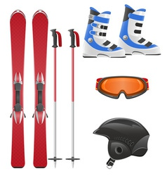 ski equipment icon set vector image vector image