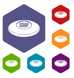 Soap icons set hexagon vector