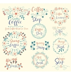 Strong CoffeeAlways Fresh ShopTasty Insignias vector image