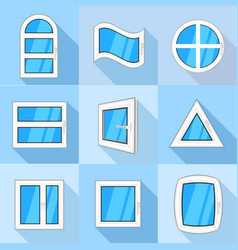types of window icons set flat style vector image vector image