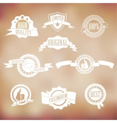 White badges and ribbons vector image