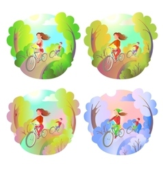 Young girl and the guy on a bike ride in the park vector