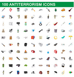 100 antiterrorism icons set cartoon style vector