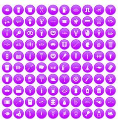 100 beer icons set purple vector