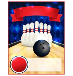 Bowling Alley Blank Template Flyer vector image