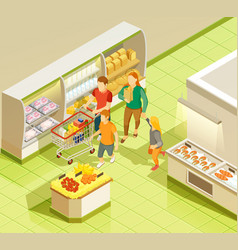 family grocery shopping supermarket isometric view vector image