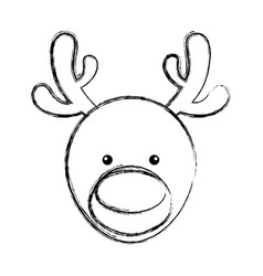 Cute deer character icon vector