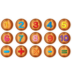 Font design for numbers and signs on round badges vector