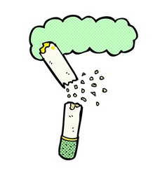 Comic cartoon broken marijuana cigarette vector