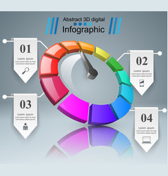 abstract 3d infographic speedometer arrow icon vector image vector image