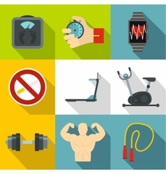 Active lifestyle icons set flat style vector