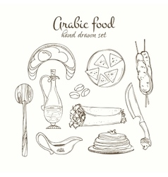 Arabic food set arabian cuisine vector