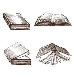 Books hand draw sketch vector