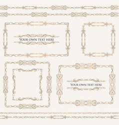 Calligraphic floral frames page decor vignette vector