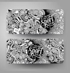 Cartoon hand drawn doodles sport banners vector