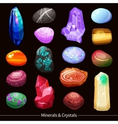 Crystals stones and rocks set background vector