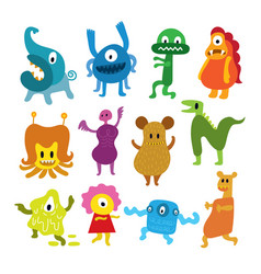 cute monsters cartoon characters set vector image